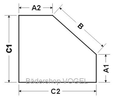 Masszeichnung Fünfeck Duschabtrennung mit Drehfalttüren EXCLUSIV, Höhe bis 210 cm - Maßanfertigung