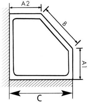 Masszeichnung Fünfeck Duschabtrennung mit Drehfalttüren EXCLUSIV, Höhe bis 200 cm - Kleinbadlösung