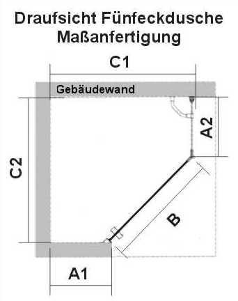 Masszeichnung Duschabtrennung PREMIUM Softcube 5-eck Maßanfertigung mit Wand