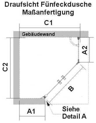 Masszeichnung Fünfeck Dusche EXKLUSIV Maßanfertigung 3-teilig