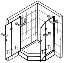 Fünfeck Duschabtrennung mit Drehfalttüren EXCLUSIV, Höhe bis 200 cm - Maßanfertigung