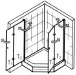 Produktdetails für Fünfeck Duschabtrennung mit Drehfalttüren EXCLUSIV 90