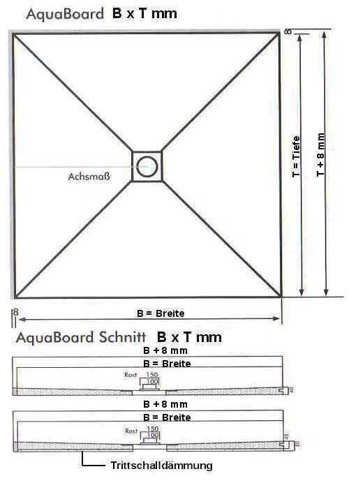 Masszeichnung AquaBoard Unterbau Duschwanne MAßANFERTIGUNG