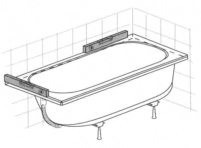 2. Badewanne aufstellen und ausrichten