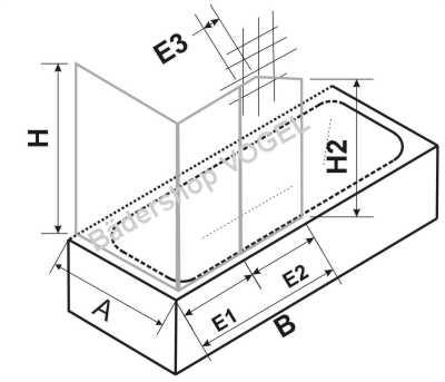 Duschabtrennung Badewanne zweiteilig mit Seitenteil - Maßanfertigung für Montage unter einer ...