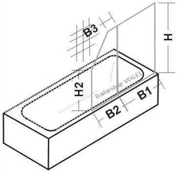 Masszeichnung Duschwand für Badewannen EXKLUSIV zweiteilig mit Schrägschnitt  - Maßanfertigung