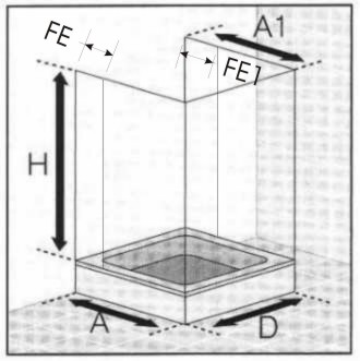 Masszeichnung Duschabtrennung in U-Form 6-teilig mit Drehfalttüren und Festelementen - Maßanfertigung, ESG