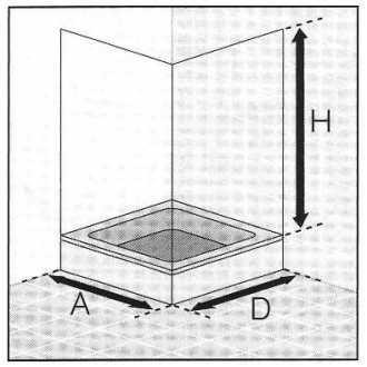 Masszeichnung Eckdusche EXKLUSIV 4-teilig, Höhe bis 200 cm - Maßanfertigung