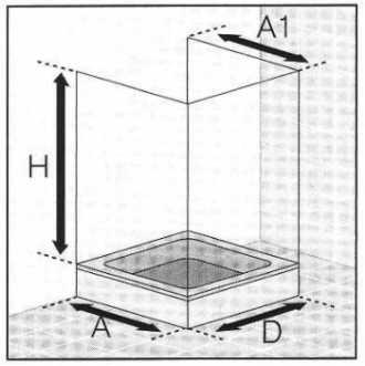 Masszeichnung Duschabtrennung in U-Form 6-teilig mit Drehfalttüren - Maßanfertigung, ESG