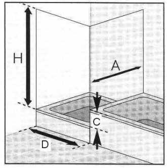 Masszeichnung Drehtür PREMIUM Classic und verkürztes Seitenteil, Höhe bis 200 cm - Maßanfertigung