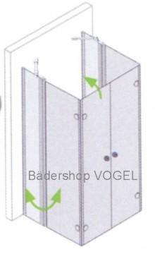 Duschabtrennung in U-Form 6-teilig mit Drehfalttüren und Festelementen - Maßanfertigung, ESG