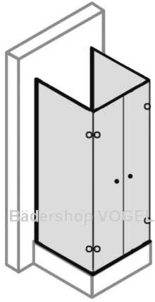 Duschabtrennung in U-Form 4-teilig mit Drehfalttüren - Maßanfertigung , ESG