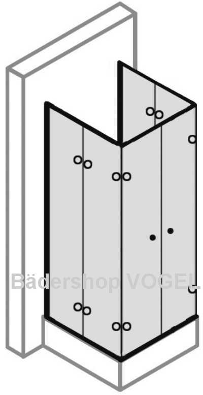 duschabtrennung in u form 6 teilig mit drehfaltt ren. Black Bedroom Furniture Sets. Home Design Ideas