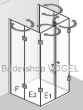 Duschkabine in U-Form mit Drehfalttüren und Festelementen - Maßanfertigung