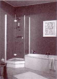 Fünfeck Duschabtrennung mit Drehfalttüren EXCLUSIV, Höhe bis 200 cm - Kleinbadlösung