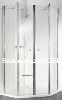 Fünfeck-Dusche EXKLUSIV Maßanfertigung 4-teilig, Höhe bis 200 cm