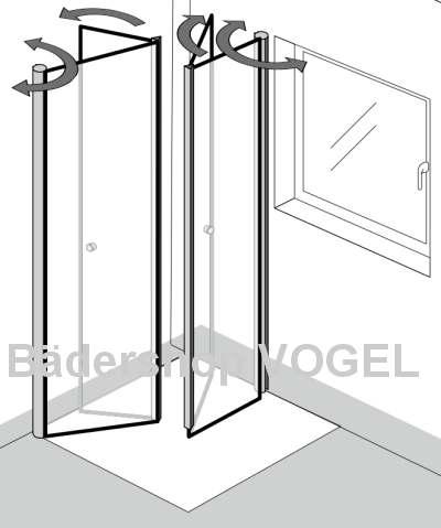 Duschabtrennung mit profil drehfaltt ren 4 teilig - Schwenkbare duschwand ...