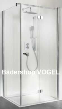 Dusche mit Drehfalttür und Seitenwand anzeigen