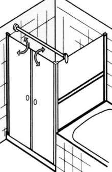 duschkabine neben der badewanne mit duscht r und verk rztem seitenteil. Black Bedroom Furniture Sets. Home Design Ideas