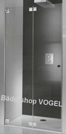 Rahmenlose Duschabtrennung mit Drehfalttür für Nische