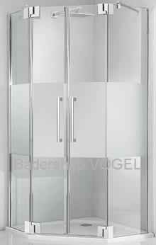 Fünfeckdusche fast rahmenlos mit 8 mm Glas, Maßanfertigung