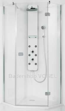 Duschabtrennung PREMIUM Softcube 5-eck, Höhe bis 210 cm - Maßanfertigung