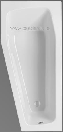 Raumspar Badewanne GLOBOSA 160/75 Acryl ungleichschenklige ...